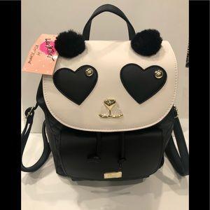 Luv Betsey drawstring Pom Pom Panda Backpack NWT